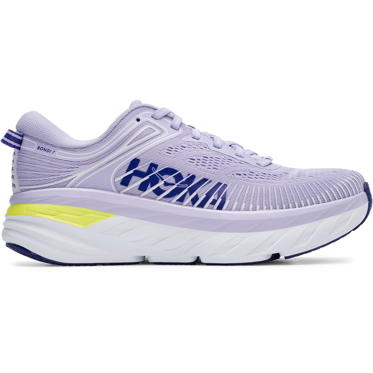 Women's Hoka One One Bondi 7 Running Shoe - Color: Purple Heather/Clematis Blue - Size: 5 - Width: Regular, Purple Heather/Clematis Blue, large, image 1