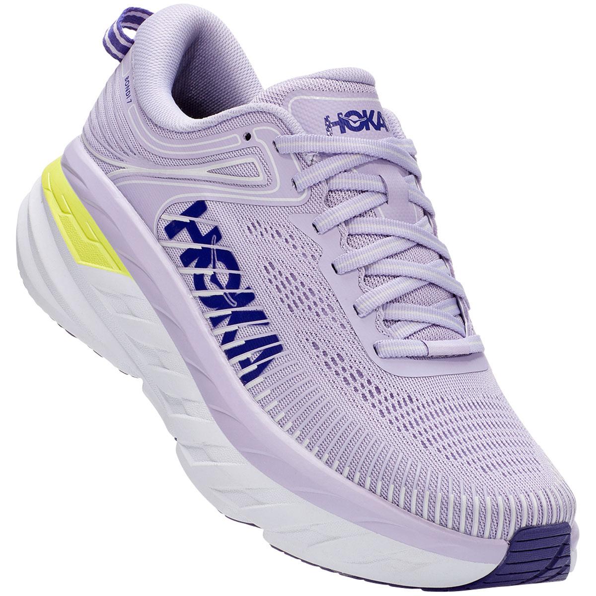 Women's Hoka One One Bondi 7 Running Shoe - Color: Purple Heather/Clematis Blue - Size: 5 - Width: Regular, Purple Heather/Clematis Blue, large, image 4