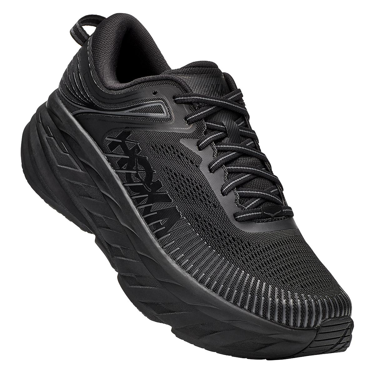 Men's Hoka One One Bondi 7 Running Shoe - Color: Black - Size: 7.5 - Width: Regular, Black, large, image 2