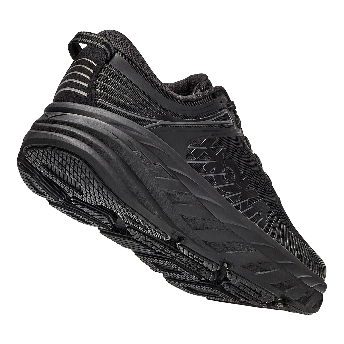 Men's Hoka One One Bondi 7 Running Shoe - Color: Black - Size: 7.5 - Width: Regular, Black, large, image 3