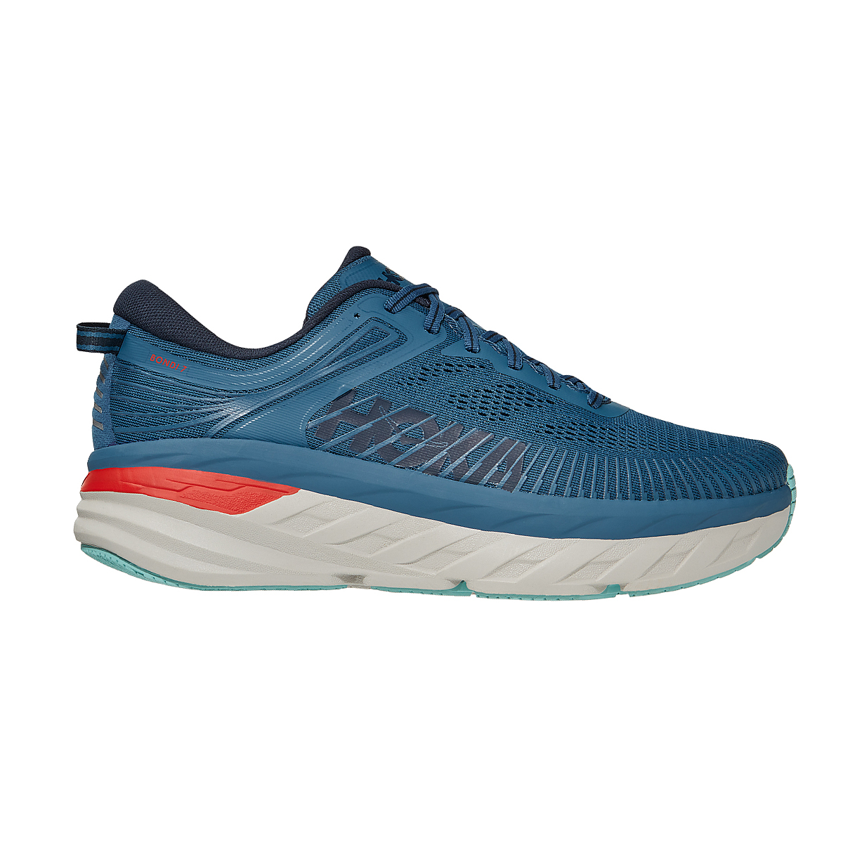 Men's Hoka One One Bondi 7 Running Shoe - Color: Real Teal/Outer Space - Size: 7 - Width: Regular, Real Teal/Outer Space, large, image 1