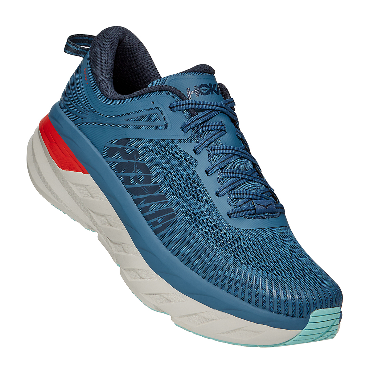 Men's Hoka One One Bondi 7 Running Shoe - Color: Real Teal/Outer Space - Size: 7 - Width: Regular, Real Teal/Outer Space, large, image 2