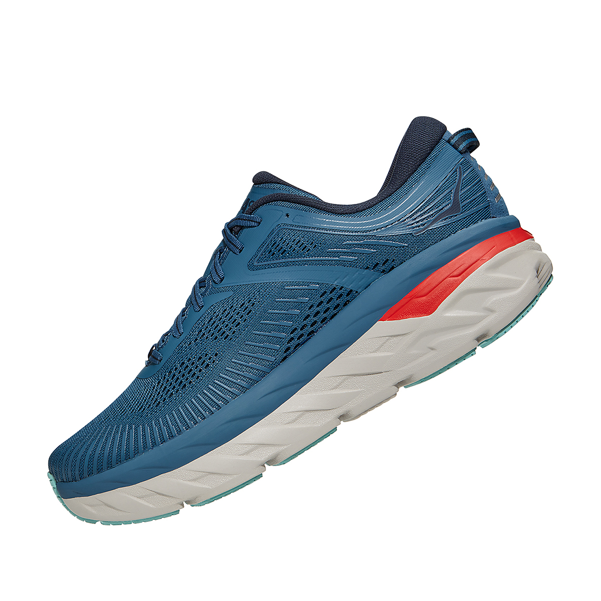 Men's Hoka One One Bondi 7 Running Shoe - Color: Real Teal/Outer Space - Size: 7 - Width: Regular, Real Teal/Outer Space, large, image 3