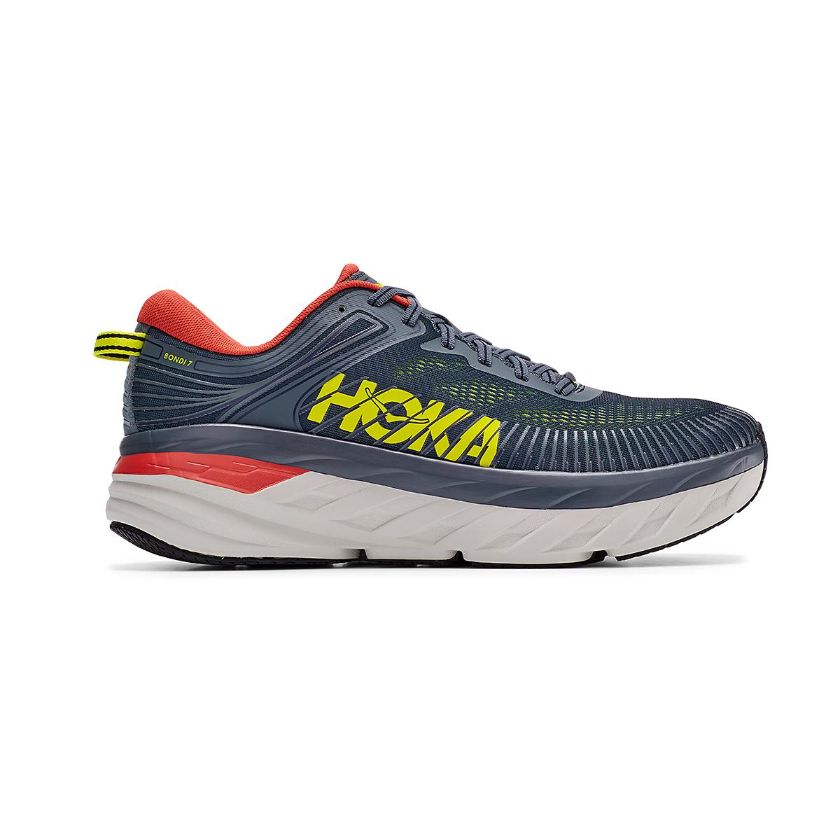 Men's Hoka One One Bondi 7 Running Shoe - Color: Turbulence/Chili - Size: 8 - Width: Regular, Turbulence/Chili, large, image 1