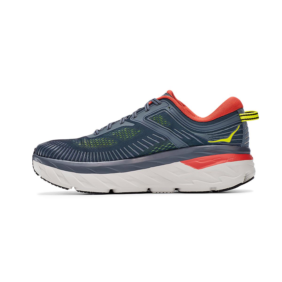 Men's Hoka One One Bondi 7 Running Shoe - Color: Turbulence/Chili - Size: 8 - Width: Regular, Turbulence/Chili, large, image 2