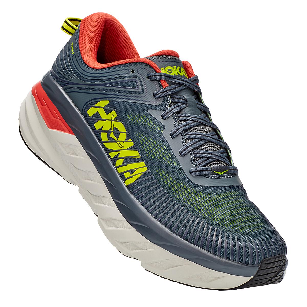 Men's Hoka One One Bondi 7 Running Shoe - Color: Turbulence/Chili - Size: 8 - Width: Regular, Turbulence/Chili, large, image 3