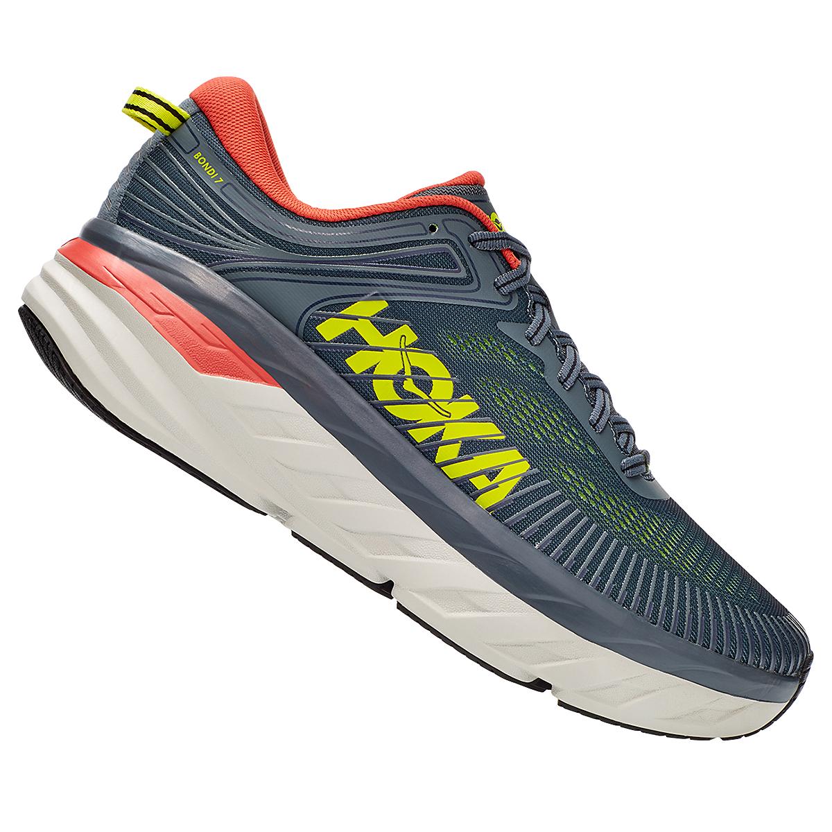 Men's Hoka One One Bondi 7 Running Shoe - Color: Turbulence/Chili - Size: 8 - Width: Regular, Turbulence/Chili, large, image 4