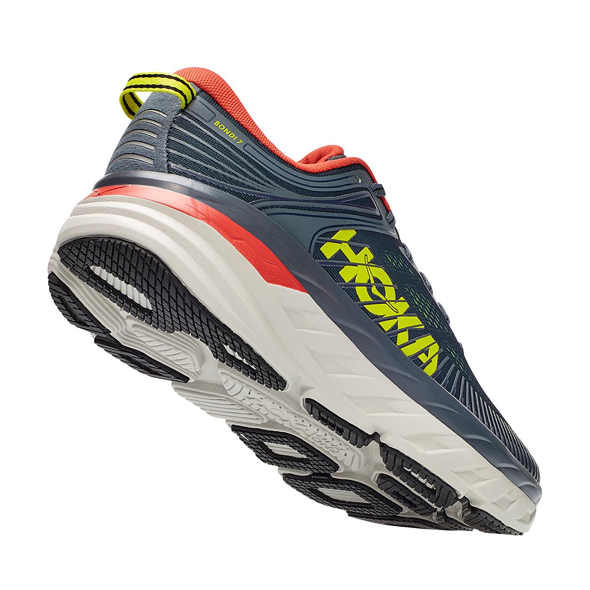 Men's Hoka One One Bondi 7 Running Shoe - Color: Turbulence/Chili - Size: 8 - Width: Regular, Turbulence/Chili, large, image 5