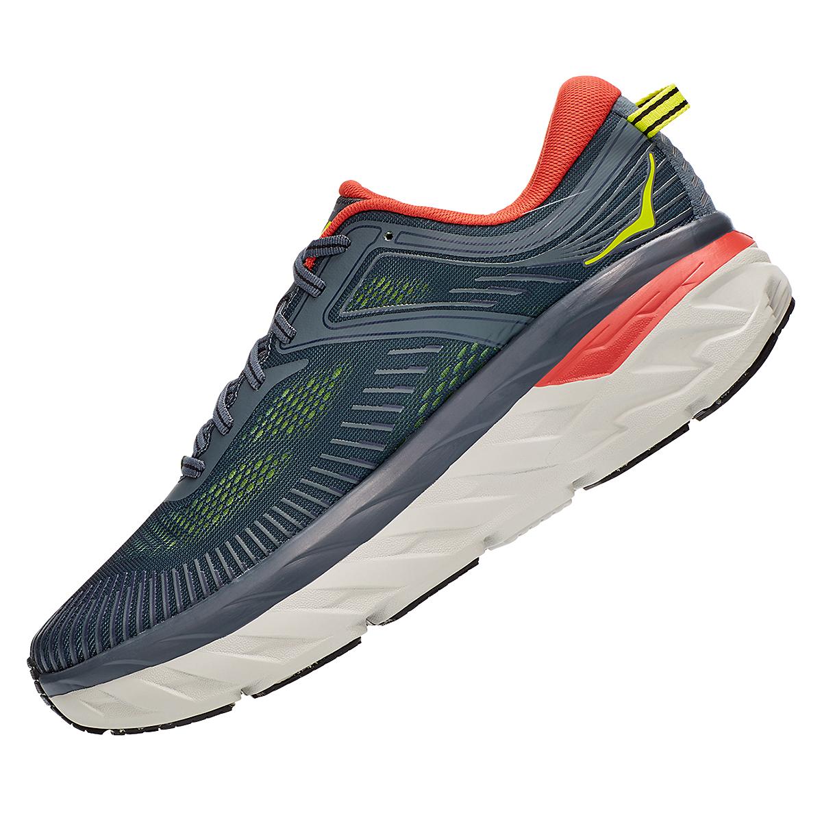 Men's Hoka One One Bondi 7 Running Shoe - Color: Turbulence/Chili - Size: 8 - Width: Regular, Turbulence/Chili, large, image 6