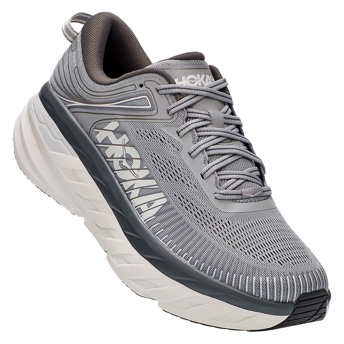 Men's Hoka One One Bondi 7 Running Shoe - Color: Wild Dove/Dark Shadow - Size: 7 - Width: Regular, Wild Dove/Dark Shadow, large, image 2