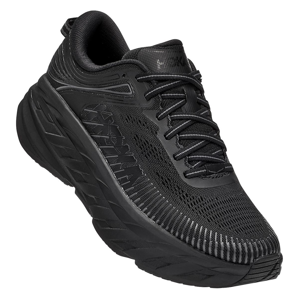 Women's Hoka One One Bondi 7 Running Shoe - Color: Black - Size: 5 - Width: Regular, Black, large, image 2