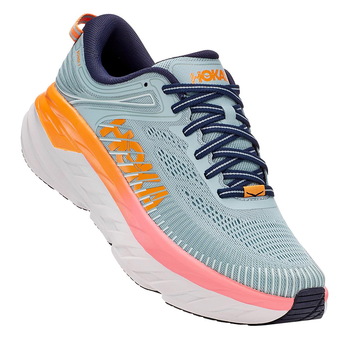 Women's Hoka One One Bondi 7 Running Shoe - Color: Blue Haze/Black Iris - Size: 5.5 - Width: Regular, Blue Haze/Black Iris, large, image 3