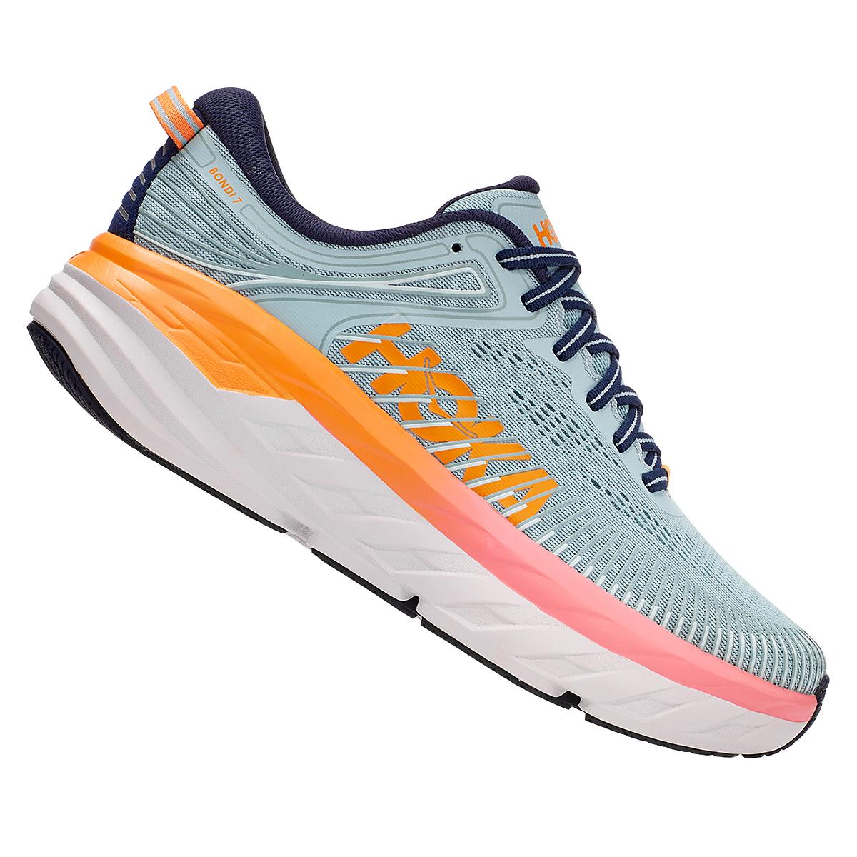 Women's Hoka One One Bondi 7 Running Shoe - Color: Blue Haze/Black Iris - Size: 5.5 - Width: Regular, Blue Haze/Black Iris, large, image 4