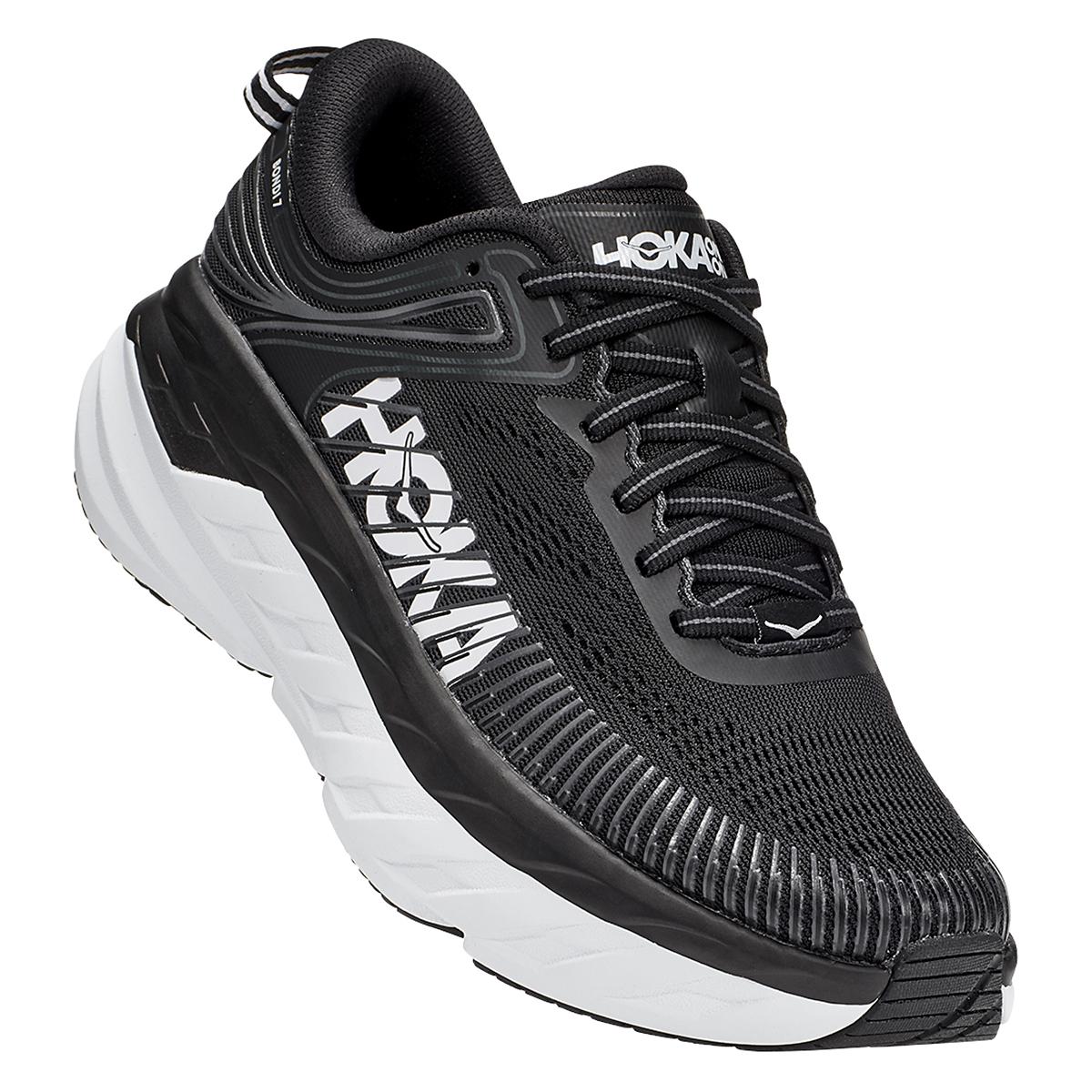 Women's Hoka One One Bondi 7 Running Shoe - Color: Black/White - Size: 5 - Width: Regular, Black/White, large, image 2