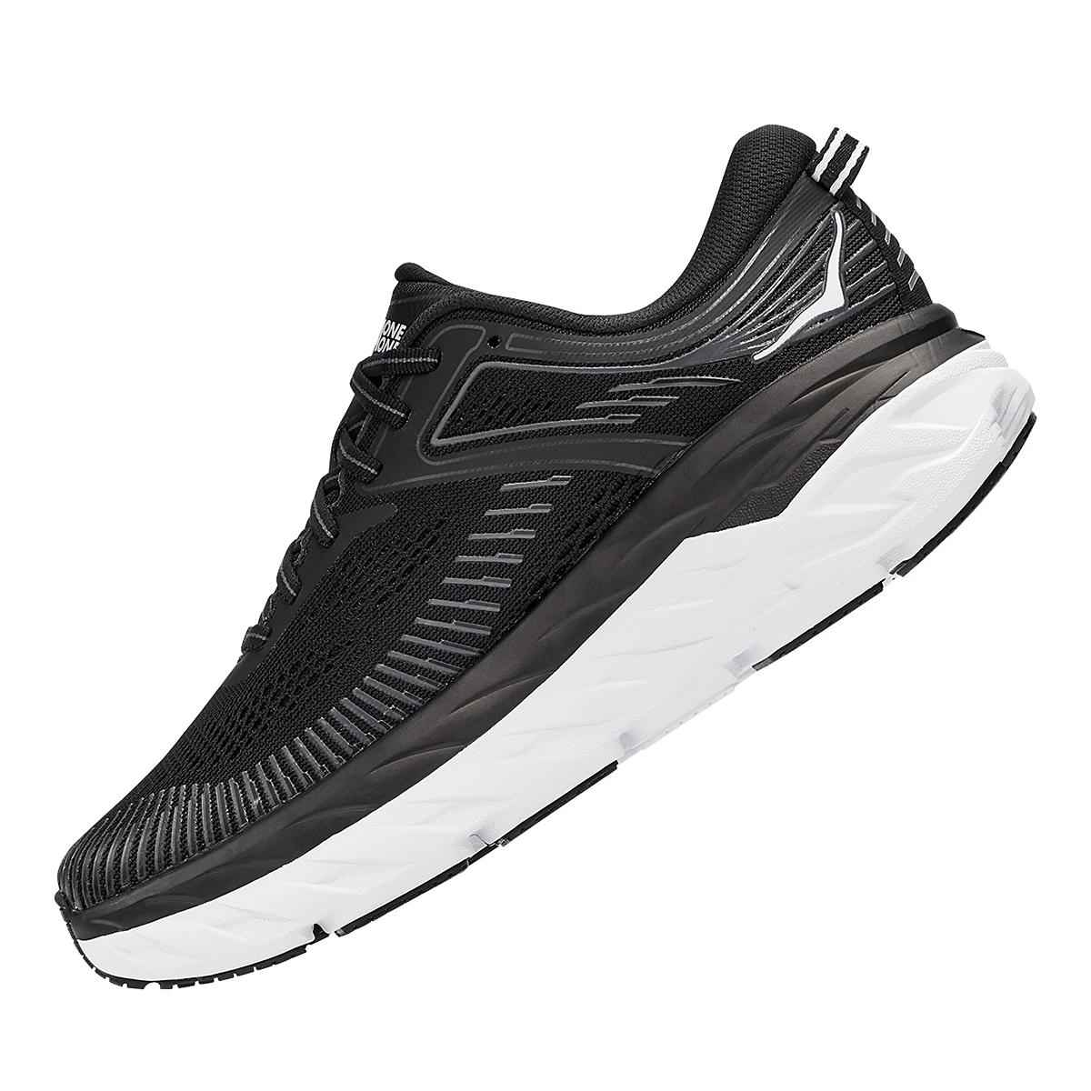 Women's Hoka One One Bondi 7 Running Shoe - Color: Black/White - Size: 5 - Width: Regular, Black/White, large, image 4