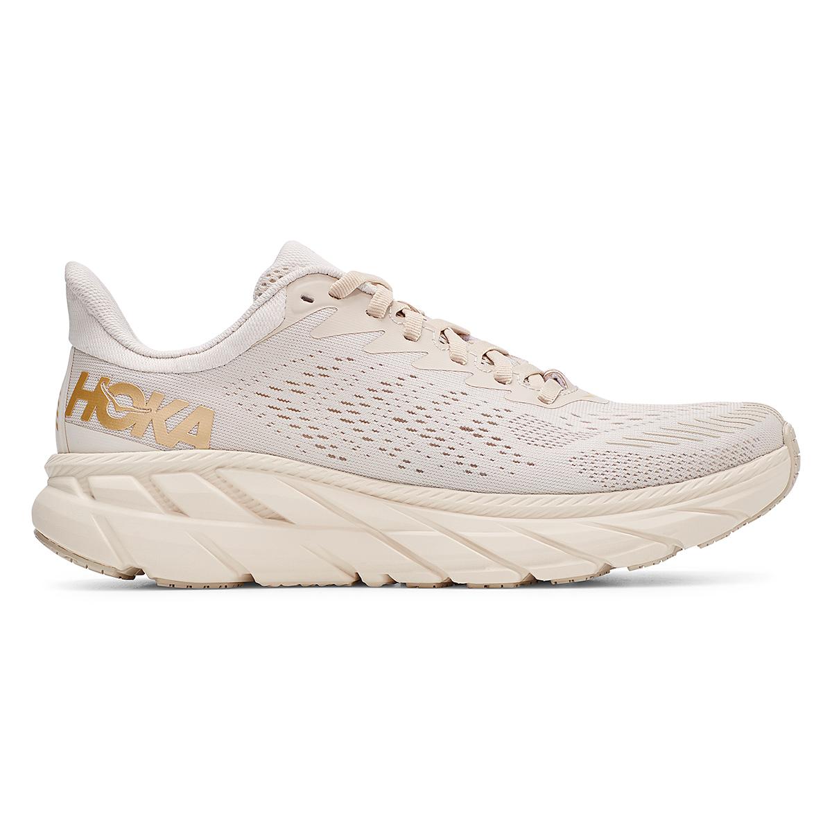 Women's Hoka One One Clifton 7 Running Shoe - Color: Almond Milk/Bronze - Size: 5 - Width: Regular, Almond Milk/Bronze, large, image 1