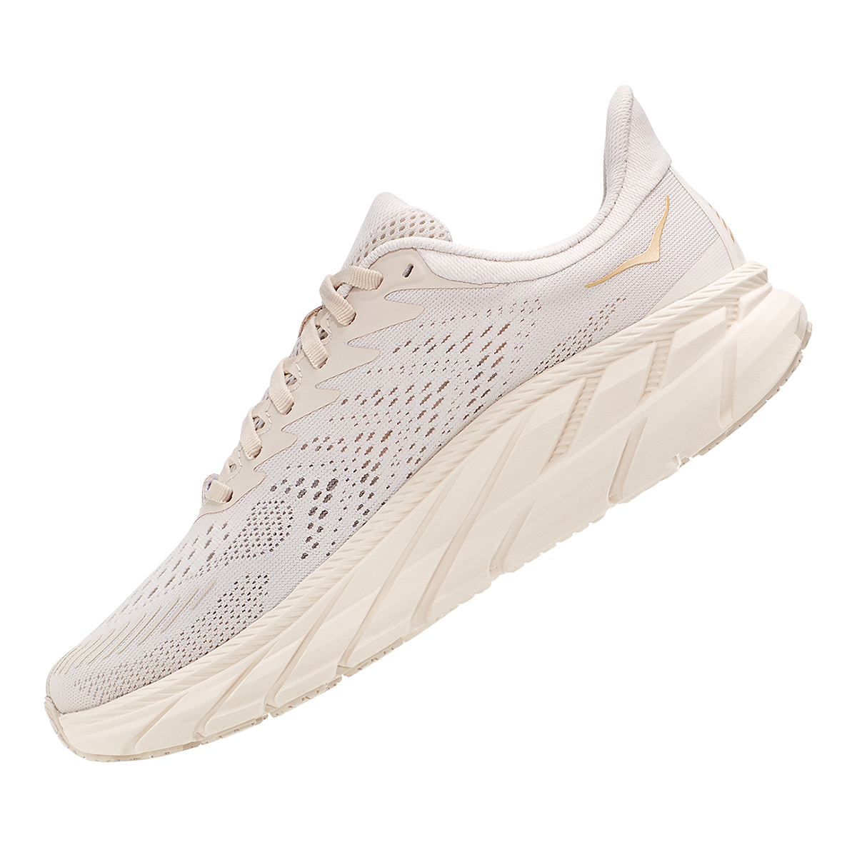 Women's Hoka One One Clifton 7 Running Shoe - Color: Almond Milk/Bronze - Size: 5 - Width: Regular, Almond Milk/Bronze, large, image 4