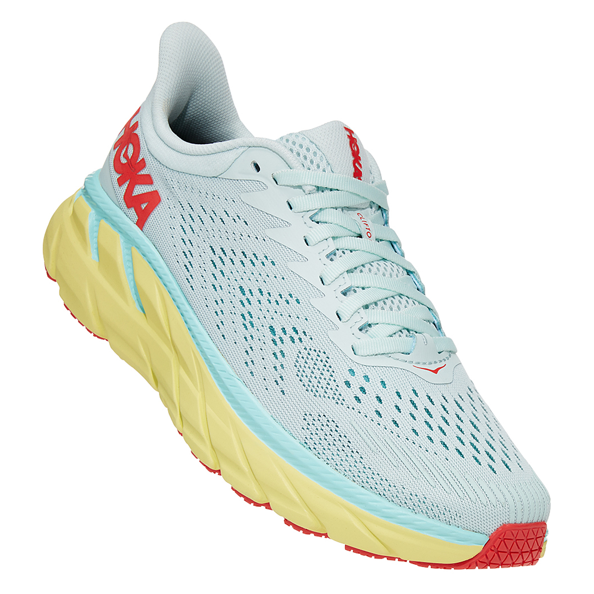 Women's Hoka One One Clifton 7 Running Shoe - Color: Morning Mist/Hot Coral - Size: 5 - Width: Regular, Morning Mist/Hot Coral, large, image 2