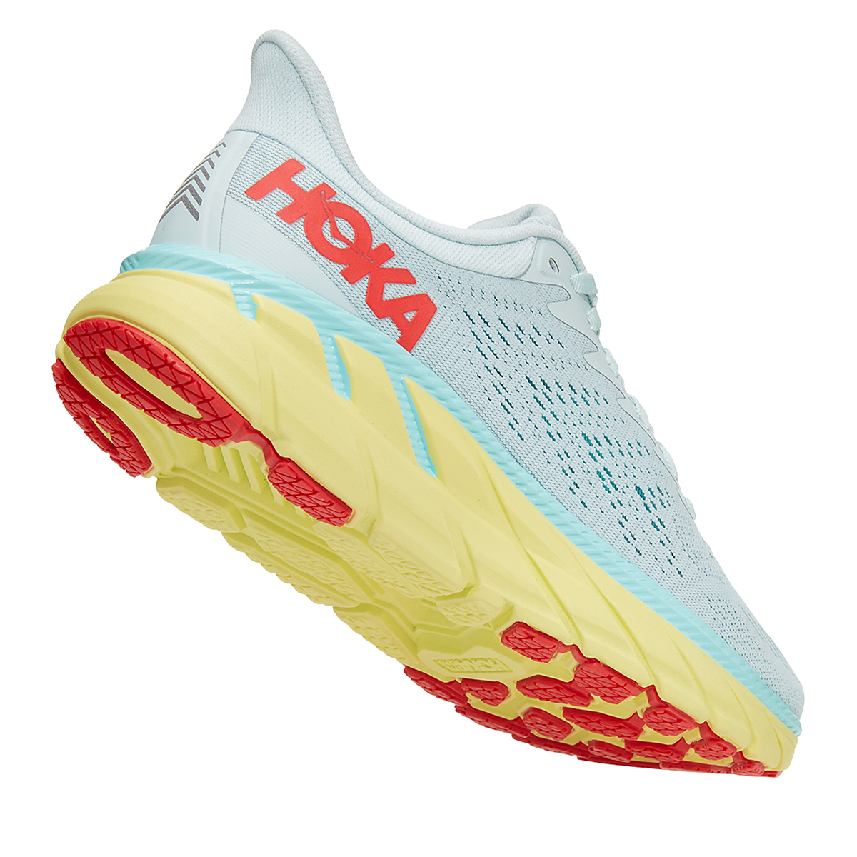 Women's Hoka One One Clifton 7 Running Shoe - Color: Morning Mist/Hot Coral - Size: 5 - Width: Regular, Morning Mist/Hot Coral, large, image 3