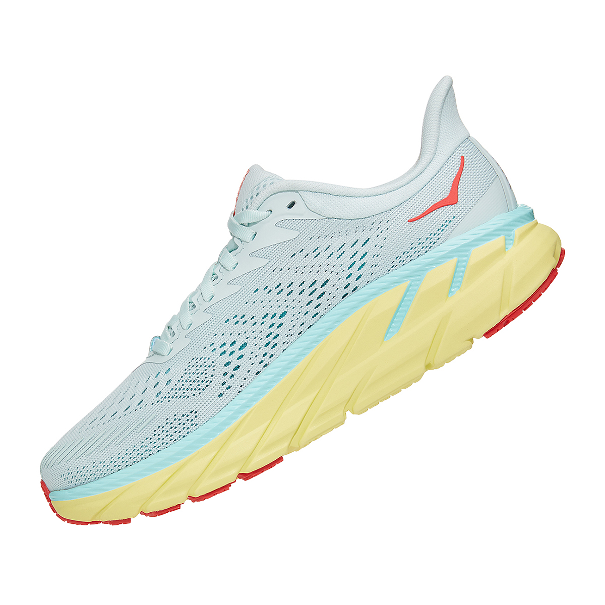 Women's Hoka One One Clifton 7 Running Shoe - Color: Morning Mist/Hot Coral - Size: 5 - Width: Regular, Morning Mist/Hot Coral, large, image 4