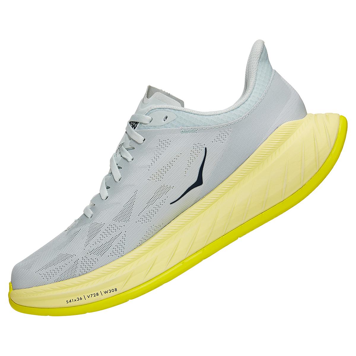 Men's Hoka One One Carbon X 2 Running Shoe - Color: Blue Flower/Luminary Green - Size: 7 - Width: Regular, Blue Flower/Luminary Green, large, image 4