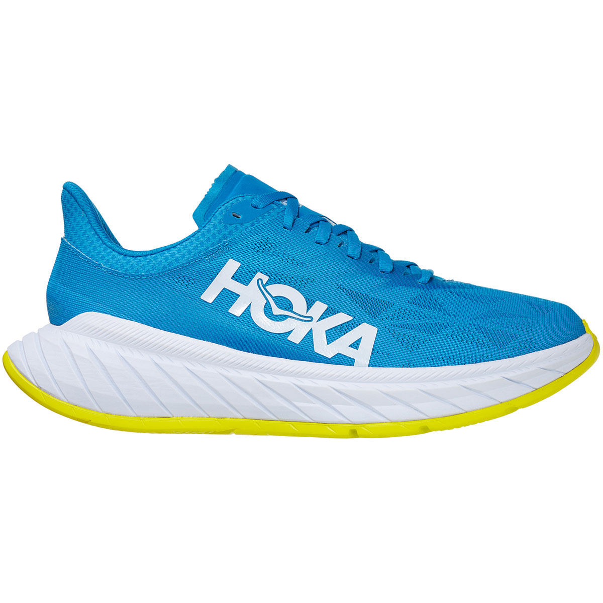 Men's Hoka One One Carbon X 2 Running Shoe - Color: Diva Blue/Citron - Size: 7 - Width: Regular, Diva Blue/Citron, large, image 1