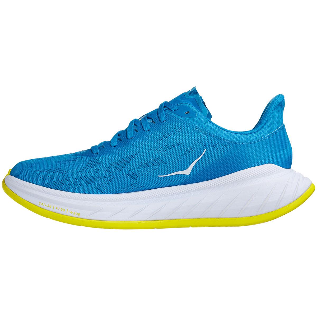 Men's Hoka One One Carbon X 2 Running Shoe - Color: Diva Blue/Citron - Size: 7 - Width: Regular, Diva Blue/Citron, large, image 2