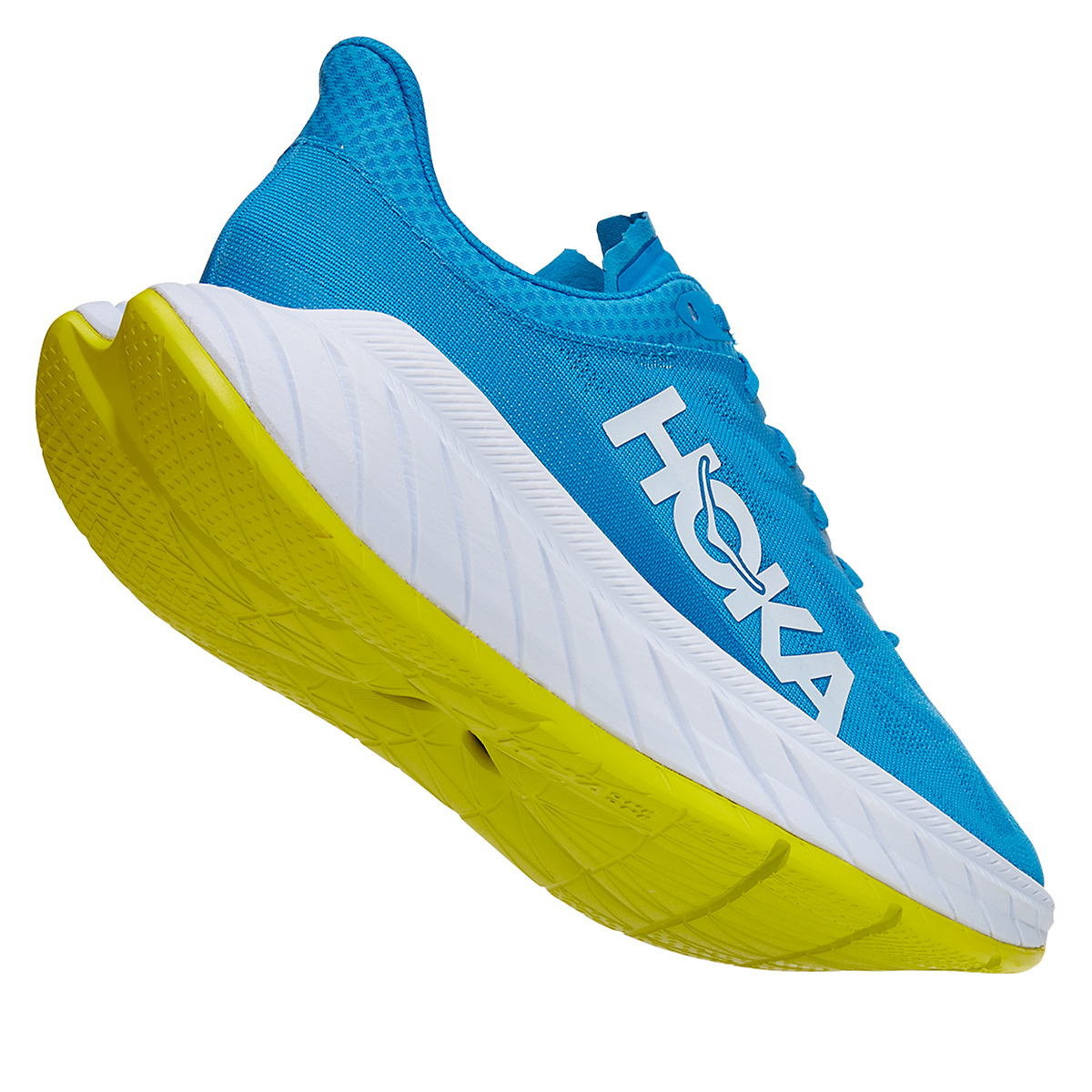 Men's Hoka One One Carbon X 2 Running Shoe - Color: Diva Blue/Citron - Size: 7 - Width: Regular, Diva Blue/Citron, large, image 4
