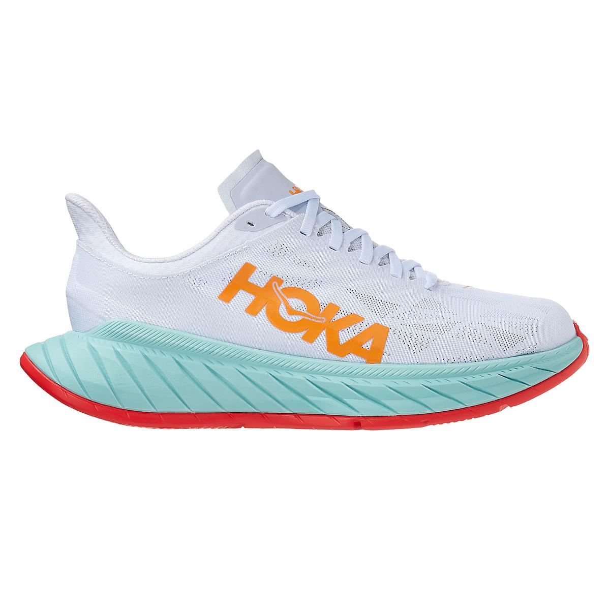 Men's Hoka One One Carbon X 2 Running Shoe - Color: White/Blazing Orange - Size: 7 - Width: Regular, White/Blazing Orange, large, image 1