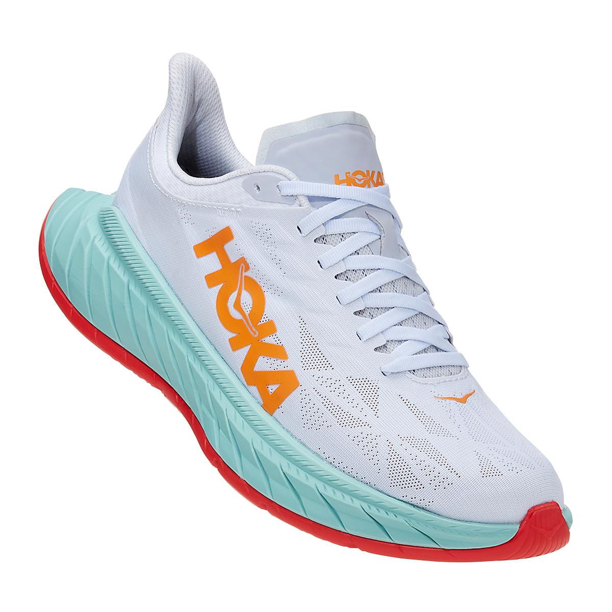 Men's Hoka One One Carbon X 2 Running Shoe - Color: White/Blazing Orange - Size: 7 - Width: Regular, White/Blazing Orange, large, image 2
