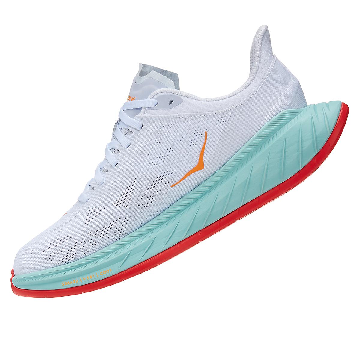 Men's Hoka One One Carbon X 2 Running Shoe - Color: White/Blazing Orange - Size: 7 - Width: Regular, White/Blazing Orange, large, image 4