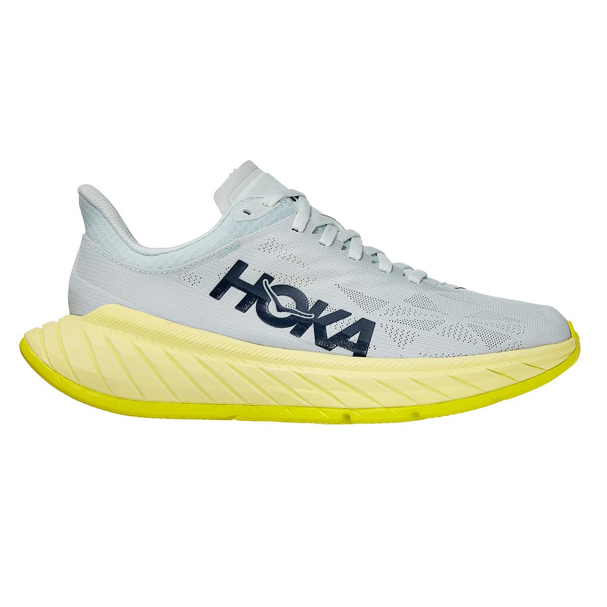 Women's Hoka One One Carbon X 2 Running Shoe - Color: Blue Flower/Luminary Green - Size: 5 - Width: Regular, Blue Flower/Luminary Green, large, image 1
