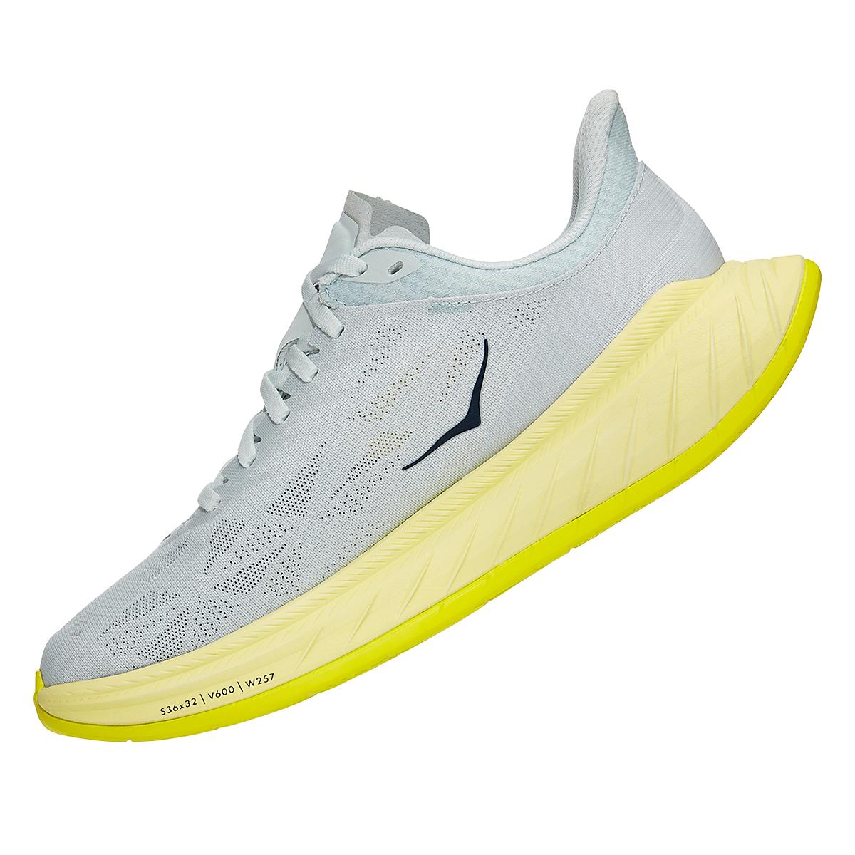 Women's Hoka One One Carbon X 2 Running Shoe - Color: Blue Flower/Luminary Green - Size: 5 - Width: Regular, Blue Flower/Luminary Green, large, image 4