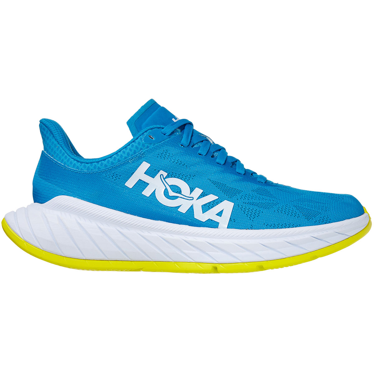 Women's Hoka One One Carbon X 2 Running Shoe - Color: Diva Blue/Citron - Size: 5 - Width: Regular, Diva Blue/Citron, large, image 1