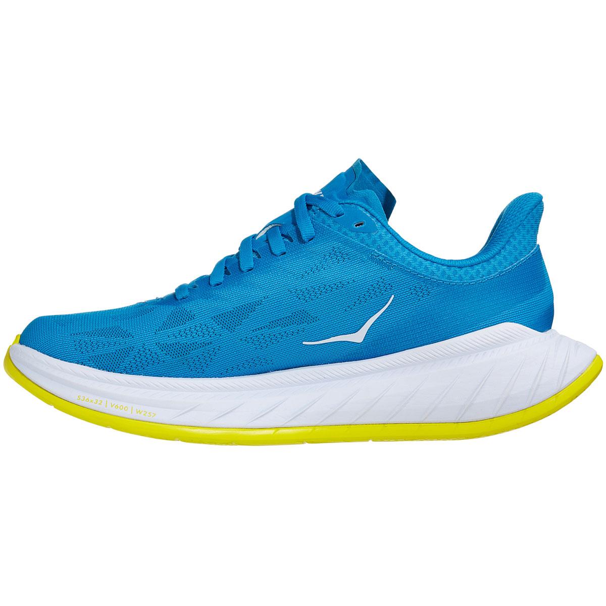 Women's Hoka One One Carbon X 2 Running Shoe - Color: Diva Blue/Citron - Size: 5 - Width: Regular, Diva Blue/Citron, large, image 2