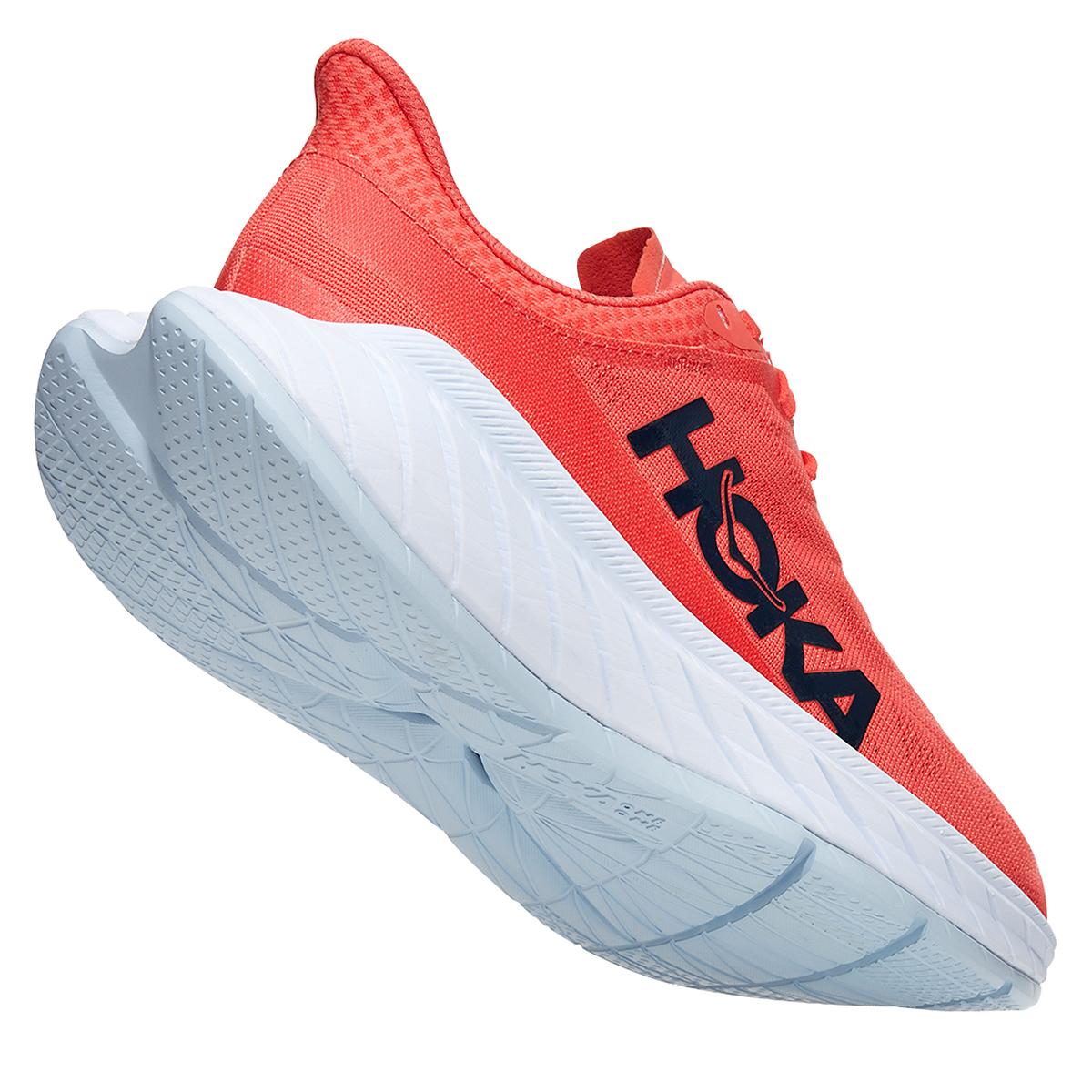 Women's Hoka One One Carbon X 2 Running Shoe - Color: Hot Coral/Black Iris - Size: 5 - Width: Regular, Hot Coral/Black Iris, large, image 3