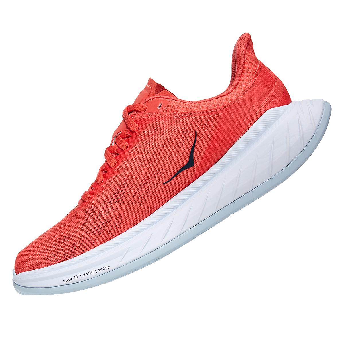 Women's Hoka One One Carbon X 2 Running Shoe - Color: Hot Coral/Black Iris - Size: 5 - Width: Regular, Hot Coral/Black Iris, large, image 4
