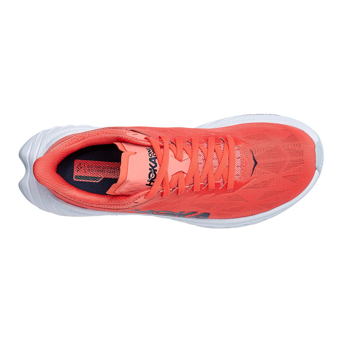 Women's Hoka One One Carbon X 2 Running Shoe - Color: Hot Coral/Black Iris - Size: 5 - Width: Regular, Hot Coral/Black Iris, large, image 5