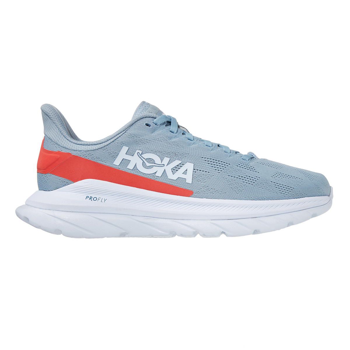 Women's Hoka One One Mach 4 Running Shoe - Color: Blue Fog/Hot Coral - Size: 5 - Width: Regular, Blue Fog/Hot Coral, large, image 1