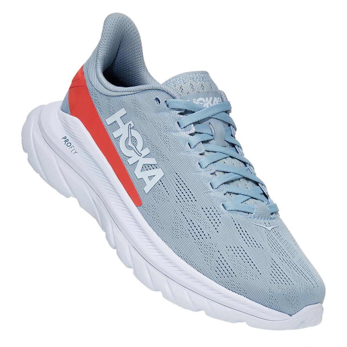 Women's Hoka One One Mach 4 Running Shoe - Color: Blue Fog/Hot Coral - Size: 5 - Width: Regular, Blue Fog/Hot Coral, large, image 4