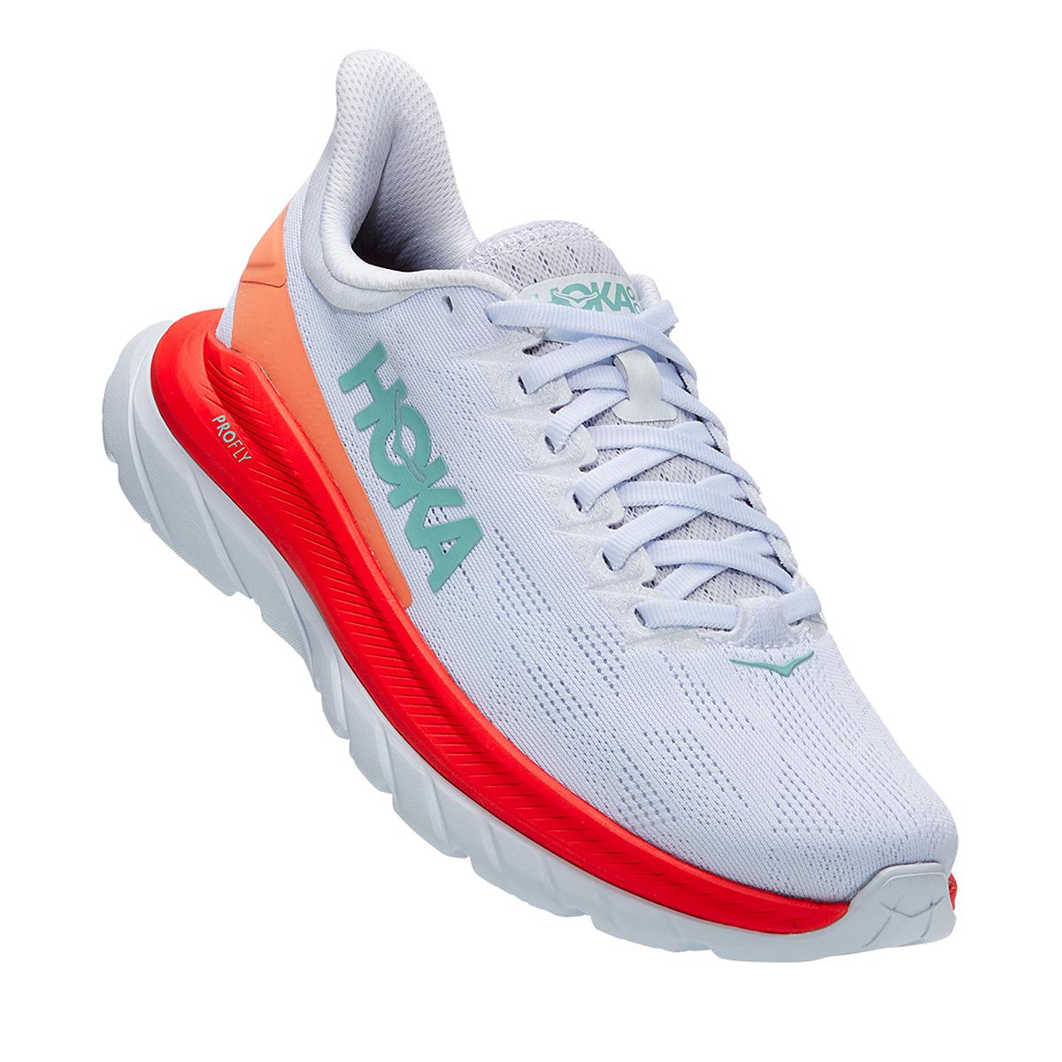 Women's Hoka One One Mach 4 Running Shoe - Color: White/Fiesta - Size: 5 - Width: Regular, White/Fiesta, large, image 1