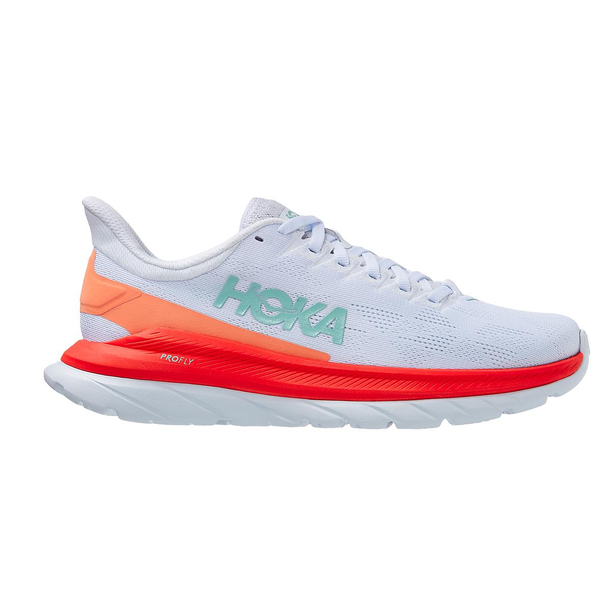 Women's Hoka One One Mach 4 Running Shoe - Color: White/Fiesta - Size: 5 - Width: Regular, White/Fiesta, large, image 2