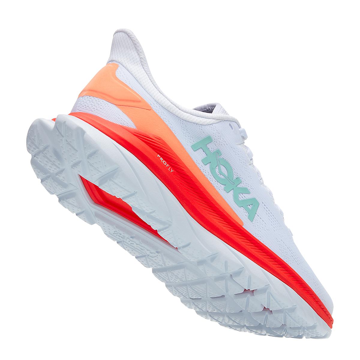 Women's Hoka One One Mach 4 Running Shoe - Color: White/Fiesta - Size: 5 - Width: Regular, White/Fiesta, large, image 3