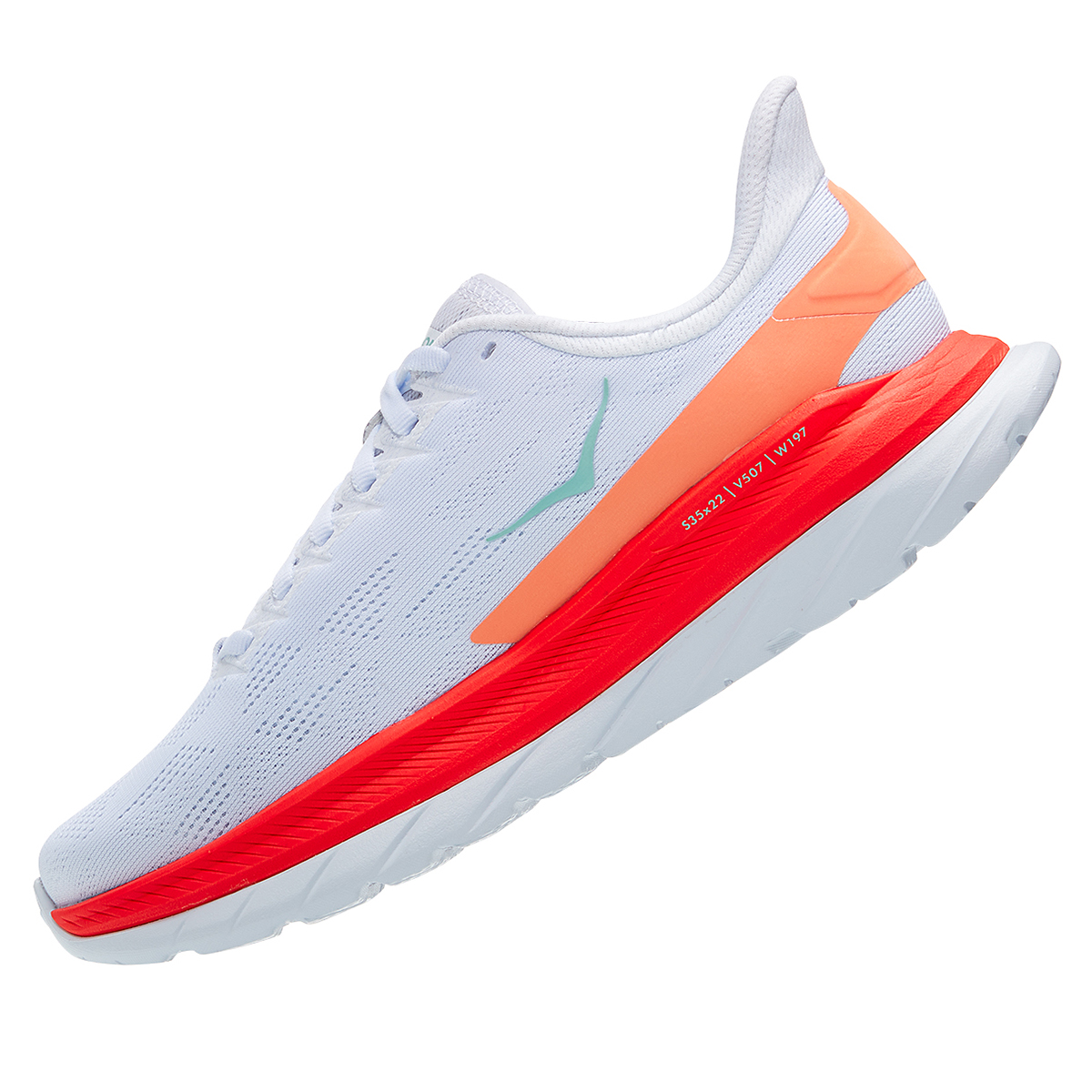 Women's Hoka One One Mach 4 Running Shoe - Color: White/Fiesta - Size: 5 - Width: Regular, White/Fiesta, large, image 4