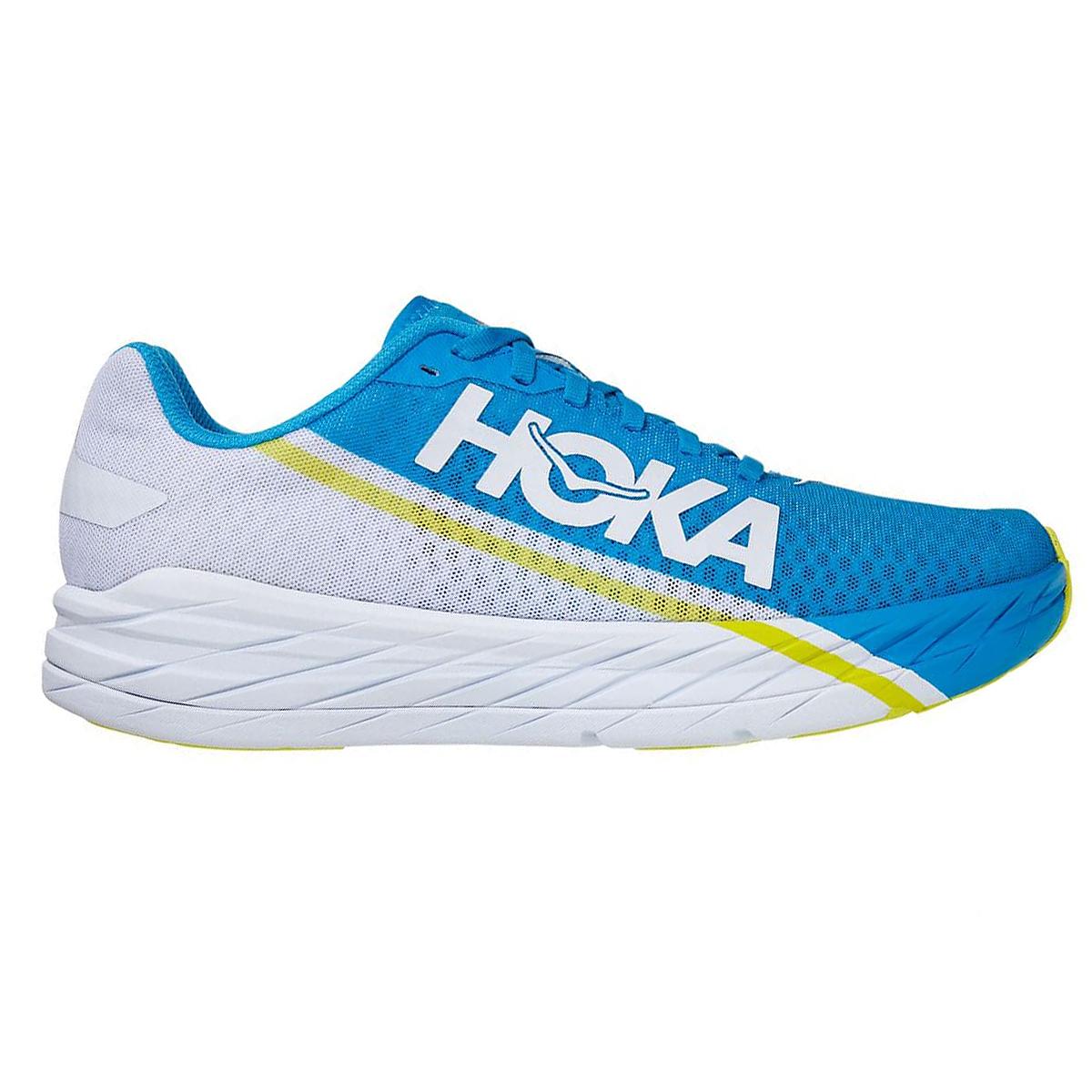 Hoka One One Rocket X Running Shoe - Color: White/Diva Blue - Size: M5/W6 - Width: Regular, White/Diva Blue, large, image 1