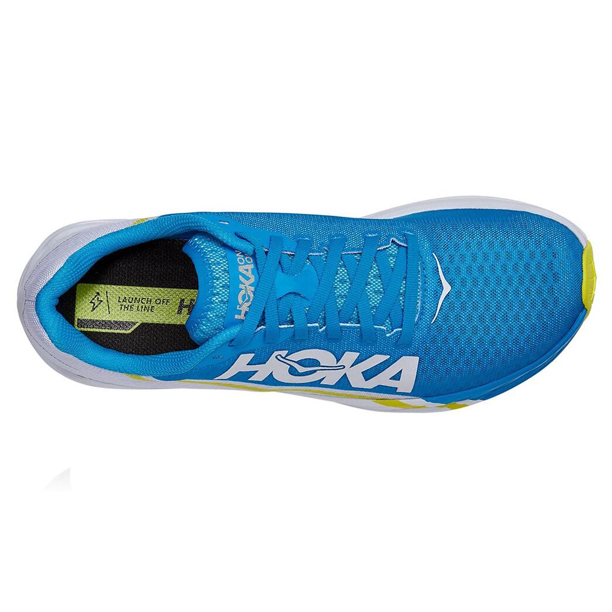 Hoka One One Rocket X Running Shoe - Color: White/Diva Blue - Size: M5/W6 - Width: Regular, White/Diva Blue, large, image 3