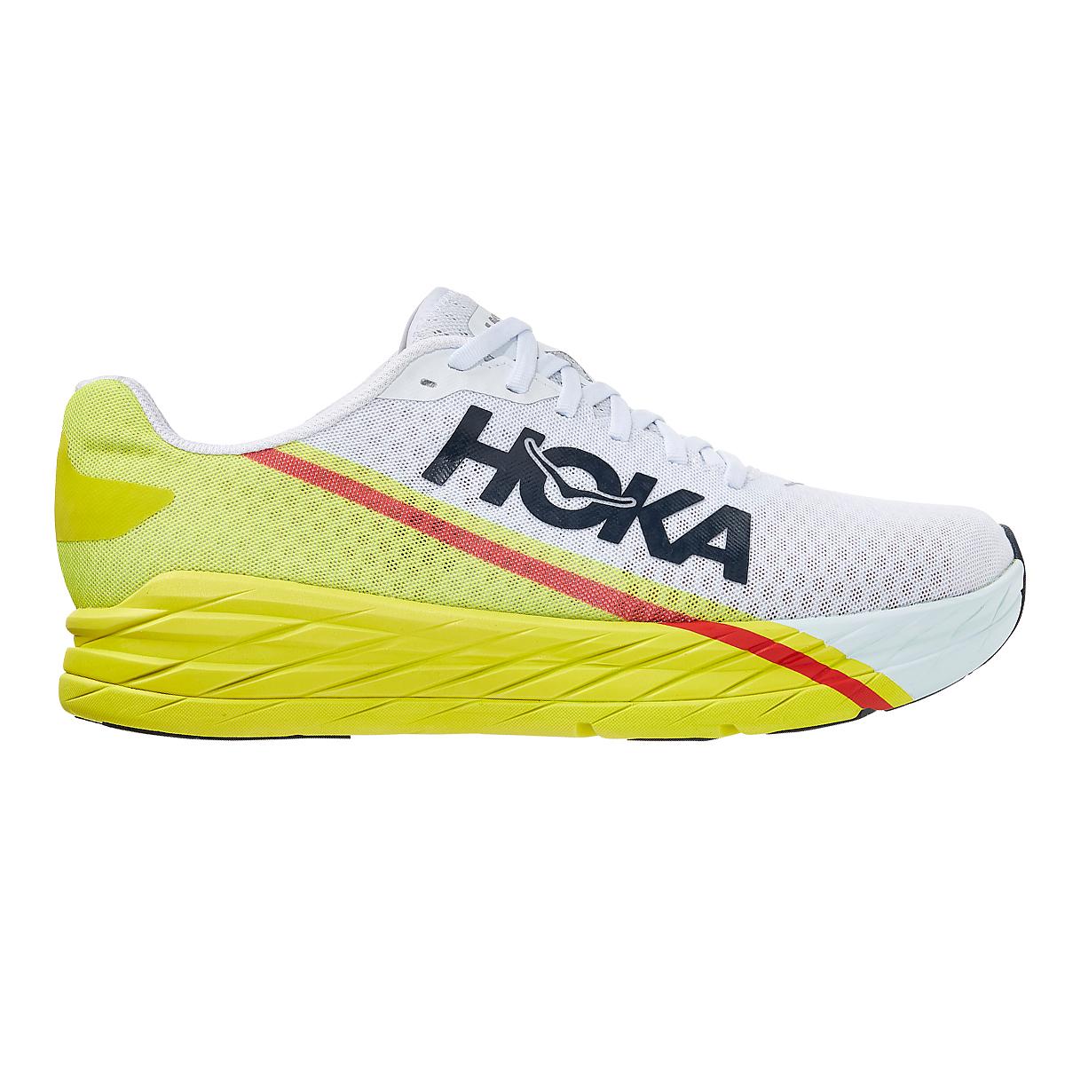 Men's Hoka One One Rocket X Running Shoe - Color: White/Evening Primrose - Size: 8.5 - Width: Regular, White/Evening Primrose, large, image 1