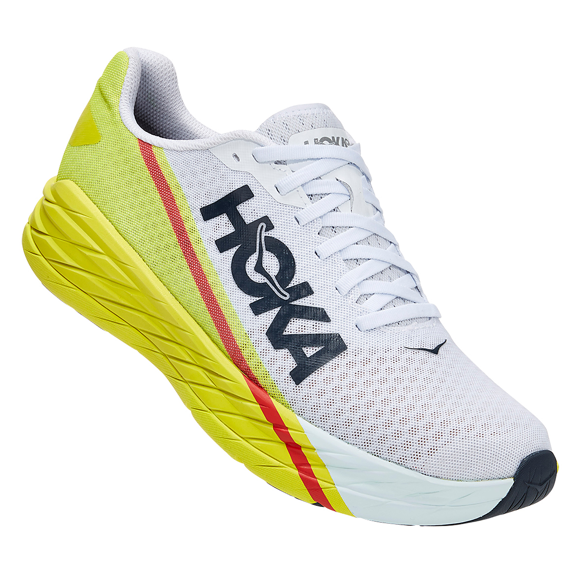 Men's Hoka One One Rocket X Running Shoe - Color: White/Evening Primrose - Size: 8.5 - Width: Regular, White/Evening Primrose, large, image 3