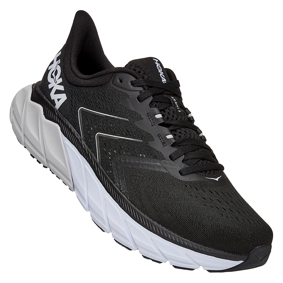 Men's Hoka One One Arahi 5 Running Shoe - Color: Black/White - Size: 7 - Width: Regular, Black/White, large, image 2