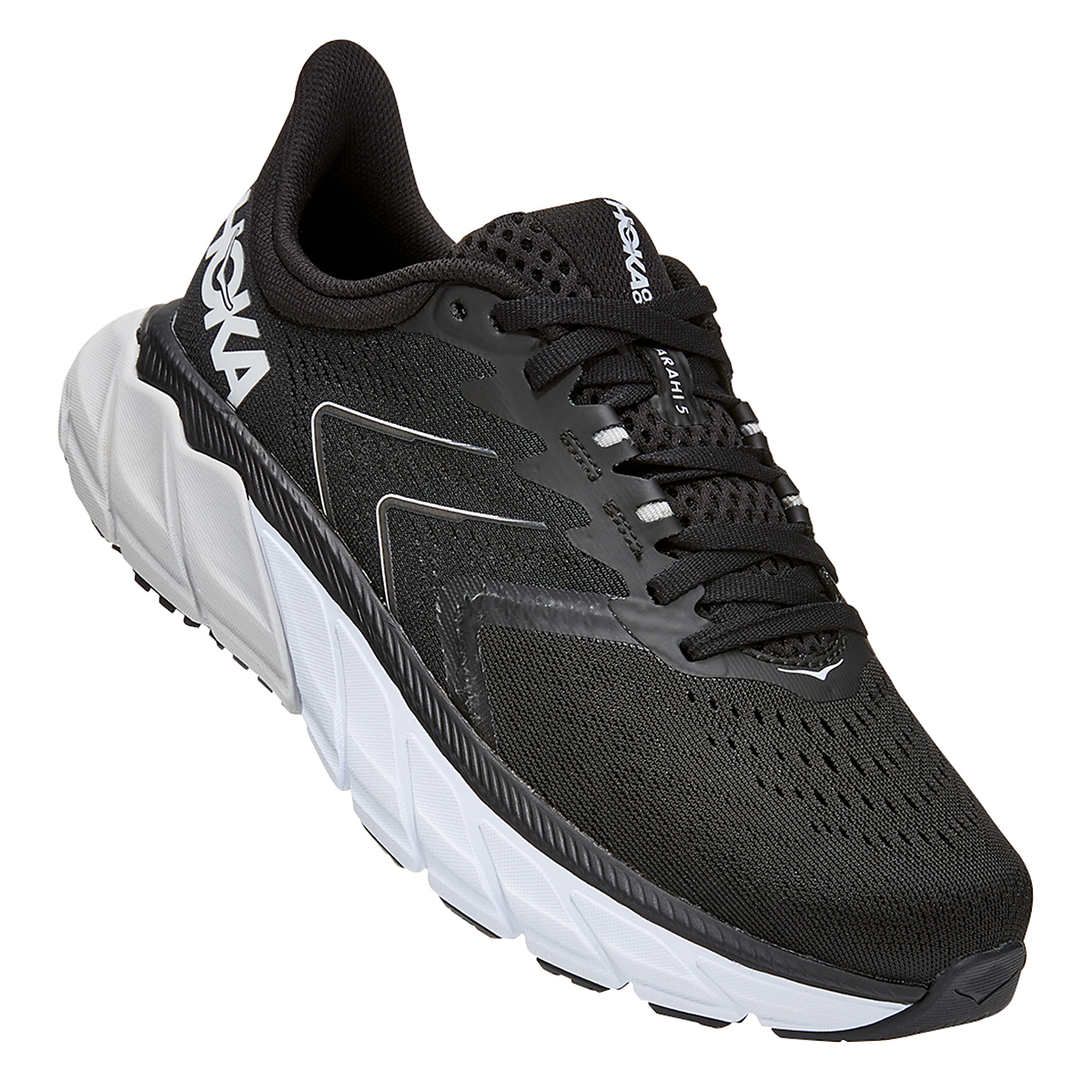 Women's Hoka One One Arahi 5 Running Shoe - Color: Black/White - Size: 5 - Width: Regular, Black/White, large, image 3